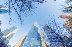 De Stad Manhattan van New York wedijvert met wolkenkrabbers Stock Afbeeldingen