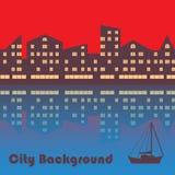 De stad met avondverlichting abstracte achtergrond royalty-vrije illustratie