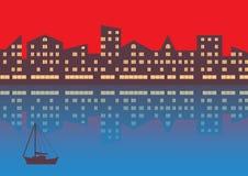 De stad met avondverlichting abstracte achtergrond Horizontale samenstelling vector illustratie
