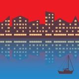 De stad met avondverlichting abstracte achtergrond vector illustratie