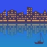 De stad met avondverlichting abstracte achtergrond stock illustratie
