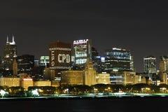 De Stad Nightshot van Chicago stock afbeeldingen