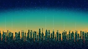 De stad online De abstracte futuristische digitale stad, wolk verbond, high-tech achtergrond, naadloze lijn royalty-vrije illustratie