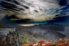 De stad op het Eiland Folegandros. Royalty-vrije Stock Afbeeldingen