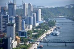 De stad Pyongyang van Noord-Korea stock foto