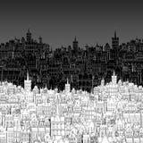 De stad, schilderde in zwart-wit overzicht Royalty-vrije Stock Afbeelding