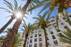 De stad Spanje van Alicante in de zomer stock foto