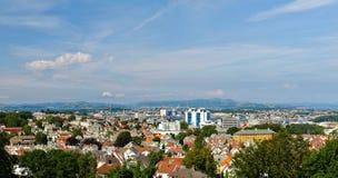 De Stad Stavanger, Noorwegen van het panorama. Stock Foto's