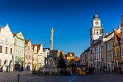 De stad in in Trebon, Tsjechische Republiek stock afbeeldingen