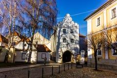 De stad in in Trebon, Tsjechische Republiek royalty-vrije stock afbeelding