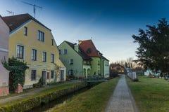 De stad in in Trebon, Tsjechische Republiek royalty-vrije stock foto