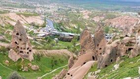 De stad UCHISAR, Cappadocia, Turkije stock afbeelding