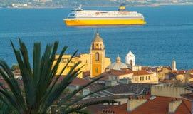 De stad van Ajaccio, het eiland van Corsica Stock Foto
