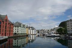 De stad van Alesund Stock Afbeeldingen