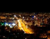De stad van Alma Ata van de nacht Stock Afbeelding