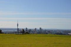 De Stad van Auckland - Volcano Crater Mount Eden Domain Stock Afbeeldingen
