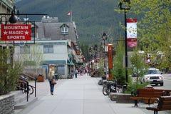 De stad van banff in de zomer Stock Foto