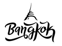 De stad van Bangkok het van letters voorzien embleemvector stock illustratie