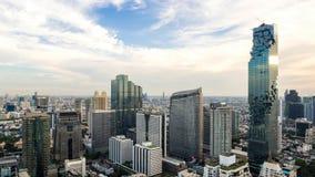 De Stad van Bangkok - Lucht de stadshorizon van de binnenstad van meningsbangkok van Thailand stock afbeeldingen