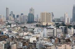 De Stad van Bangkok scape van hierboven stock afbeelding