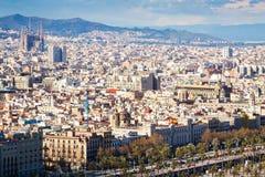 De stad van Barcelona van havenkant Stock Fotografie