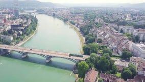 De stad van Bazel van hierboven stock video