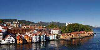 De stad van Bergen, Noorwegen stock foto