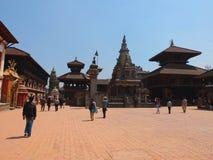 De stad van Bhaktapur, Nepal Stock Foto's