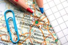 De stad van Birmingham van Groot-Brittannië in het centrum van de geografische kaart stock foto