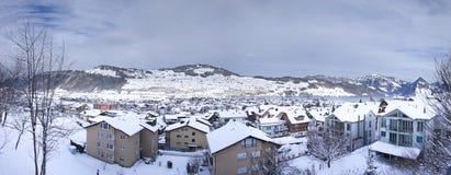 De stad van Buchs in de winter royalty-vrije stock afbeelding