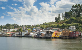 De stad van Castro, Chiloe Chili Stock Foto's