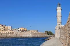De stad van Chania bij het eiland van Kreta, Griekenland Stock Foto's