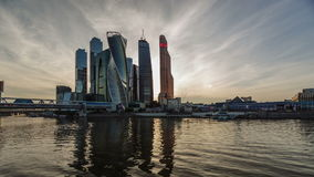 De Stad van commercieel Moskou van het centrum stock video