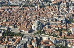 De stad van Como, van Brunate-dorp wordt gezien dat royalty-vrije stock foto's