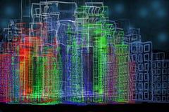 De Stad van Cyber met Neonlichten Stock Fotografie