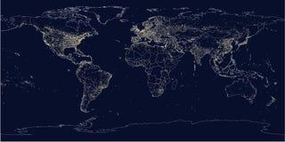 De stad van de aarde steekt politieke kaart aan Royalty-vrije Stock Afbeeldingen