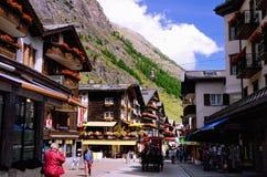 De Stad van de bergtoevlucht van Zermatt, Zwitserland Royalty-vrije Stock Foto's