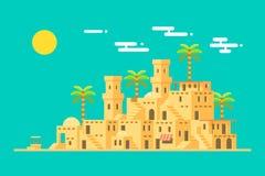 De stad van de de modderbaksteen van het Midden-Oosten van het woestijndorp Stock Afbeelding