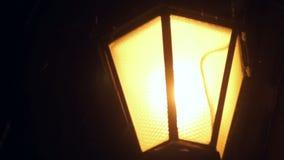 De stad van de de wintersneeuw van de lantaarnnacht stock videobeelden