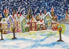 De stad van de fee in de winter, het handdrawn schilderen vector illustratie