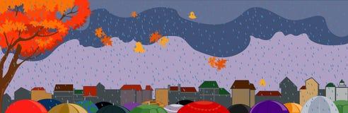 De stad van de herfst Stock Afbeelding