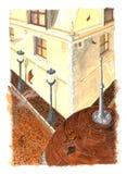 De stad van de herfst het schilderen Stock Foto's