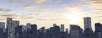De stad van de horizon bij zonsondergang Royalty-vrije Stock Foto's