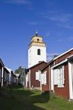 De stad van de kerk met de kerk van Gammelstad in B Stock Fotografie