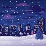 De stad van de kerstnacht Stock Foto