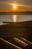 De stad van de lentelistvtanka op het meer van de Baykal Royalty-vrije Stock Foto