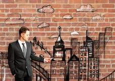 De stad van de mensentekening stock afbeelding