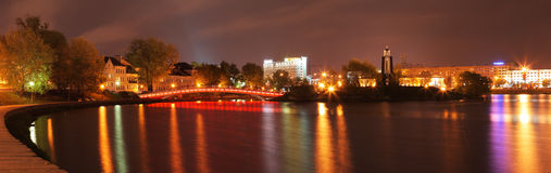 De stad van de nacht Stock Foto