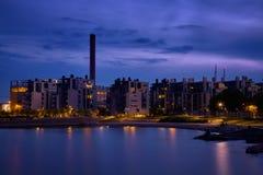 De stad van de nacht stock fotografie