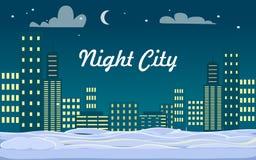 De stad van de nacht gebouwen Sneeuw op Grond De winter vector illustratie